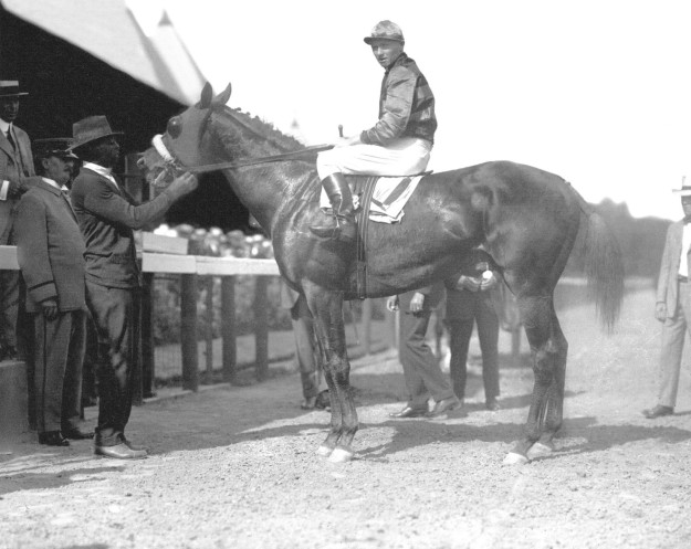 Sir Barton, the first horse to capture the American Triple Crown, with jockey Earl Sande. (Cook Collection, Keeneland Library, Lexington, Kentucky.)