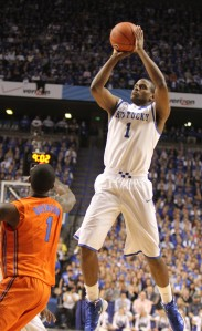 Senior Darius Miller, shooting in one of his record 152 games for UK
