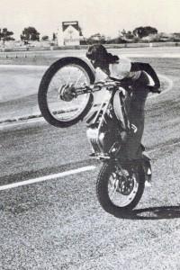 "Debbie Evans wheeling away! (Courtesy of Debbie Evans.) From ""Stuntwomen."""