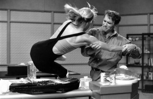 "Donna Evans, doubling Sharon Stone, battles it out with Arnold Schwarzenegger in ""Total Recall"" (1990). Courtesy of Donna Evans. From ""Stuntwomen."""