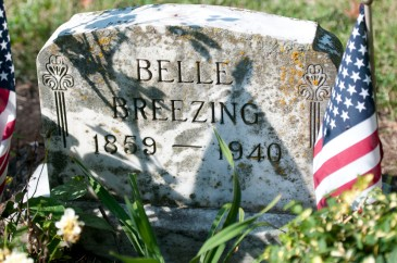Belle Brezing's grave at Calvary Cemetery, Lexington. Her surname and year of birth are incorrect on her gravestone. (Collection of the Author)