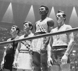 Boxing light-heavyweight podium 1960 Olympics. via Polish Press Agency